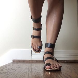 BCBGeneration Black Leather Sandals